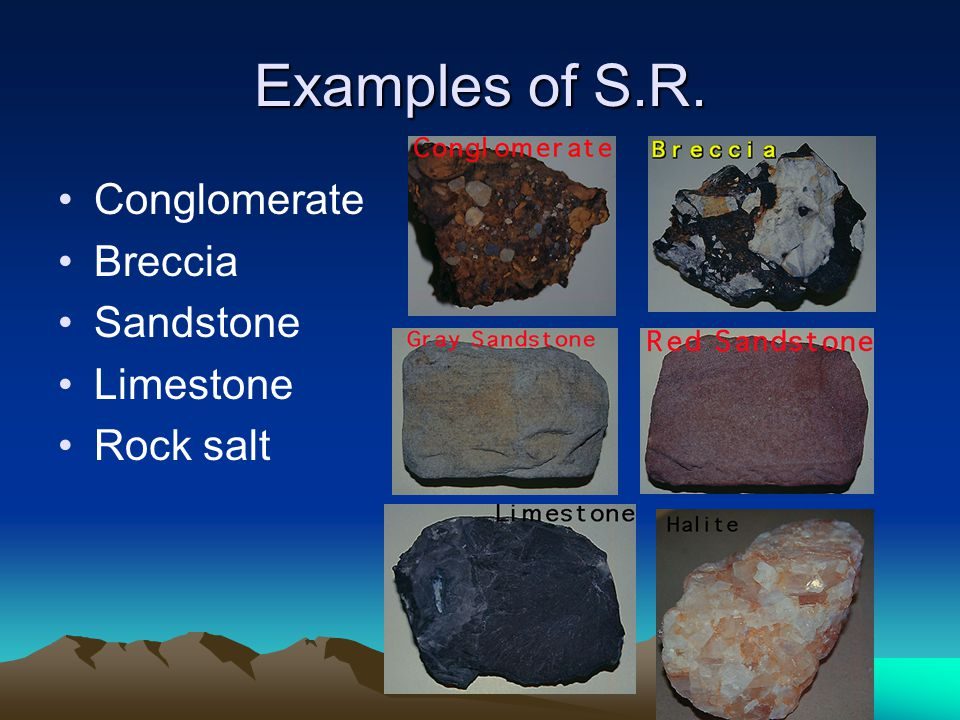 Examples of S.R. Conglomerate Breccia Sandstone Limestone Rock salt