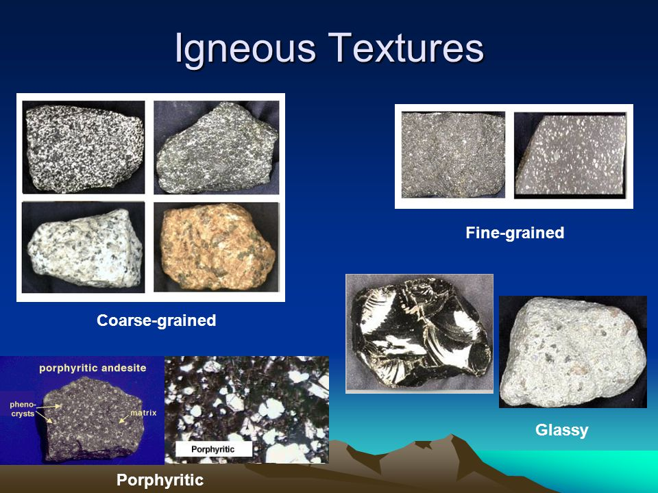 Igneous Textures Fine-grained Coarse-grained Glassy Porphyritic