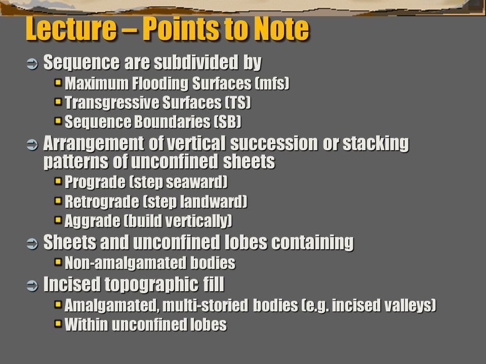 Lecture – Points to Note
