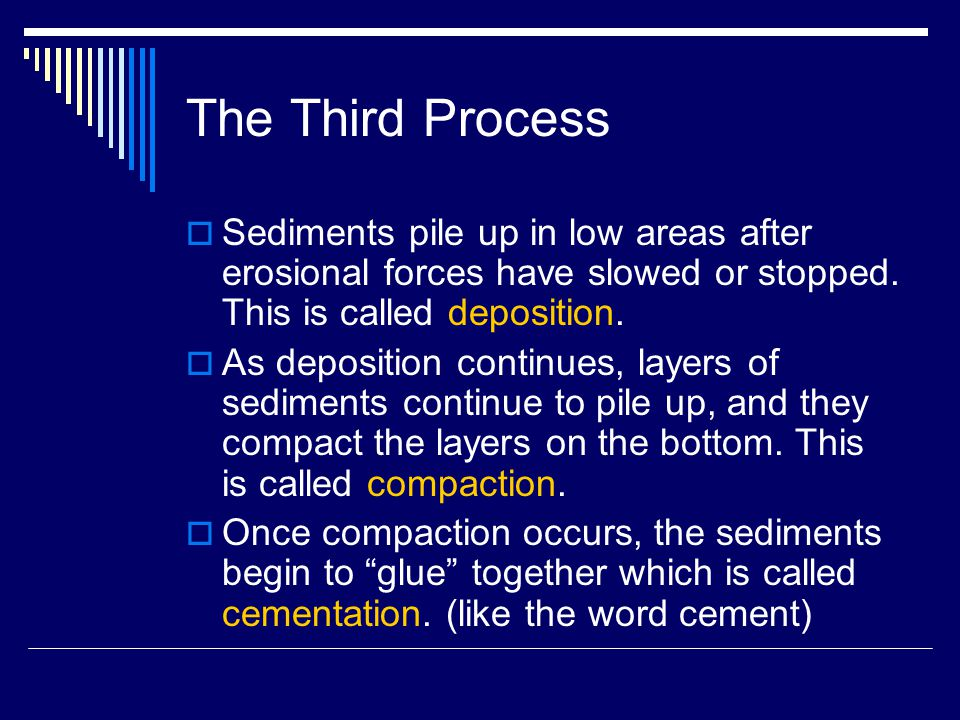 The Third Process Sediments pile up in low areas after erosional forces have slowed or stopped. This is called deposition.