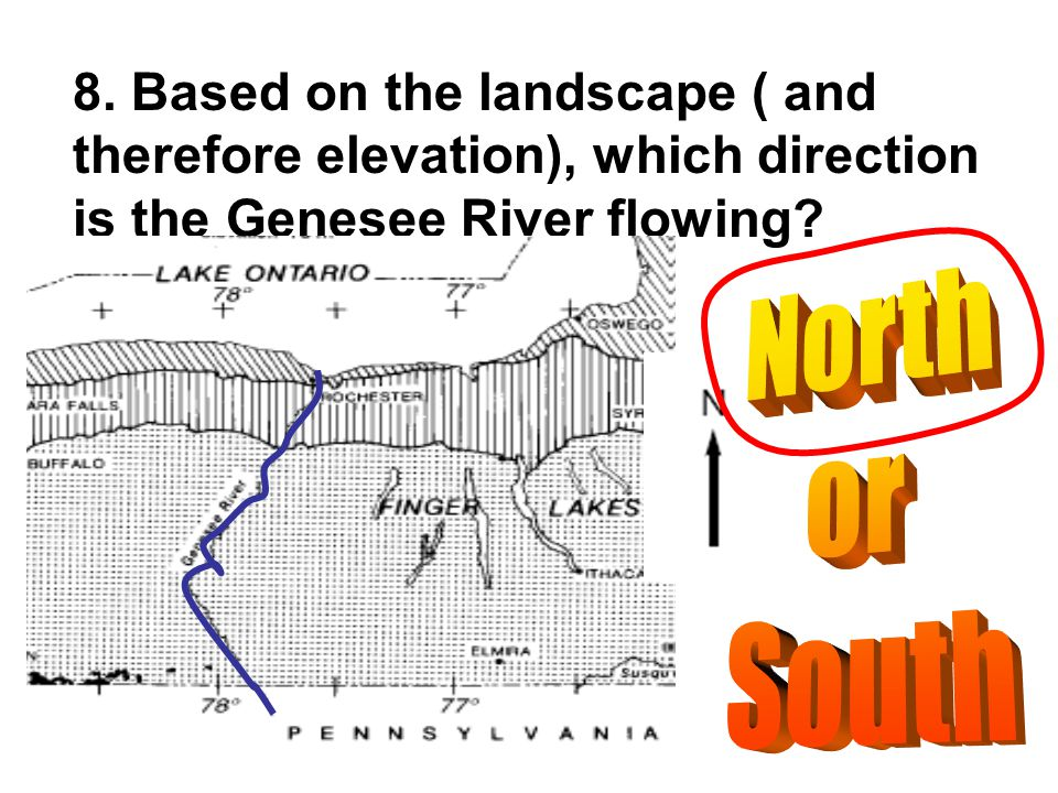 8. Based on the landscape ( and therefore elevation), which direction is the Genesee River flowing