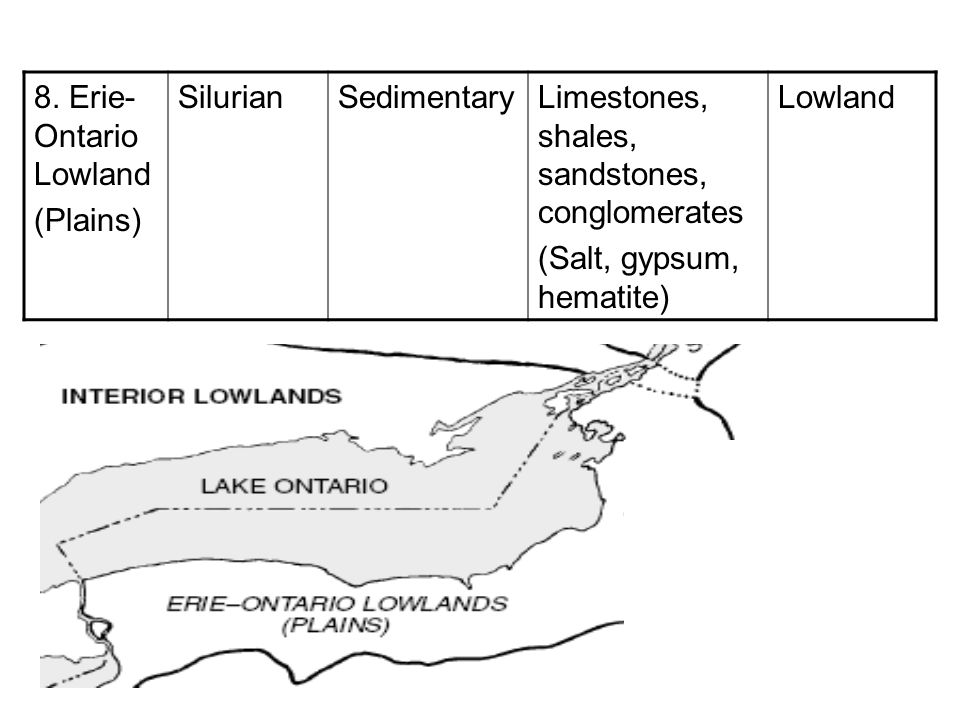 8. Erie-Ontario Lowland (Plains) Silurian. Sedimentary. Limestones, shales, sandstones, conglomerates.
