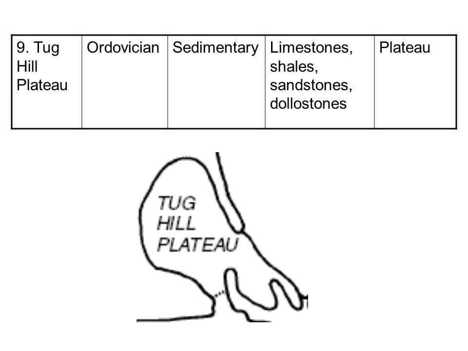 9. Tug Hill Plateau Ordovician Sedimentary Limestones, shales, sandstones, dollostones Plateau