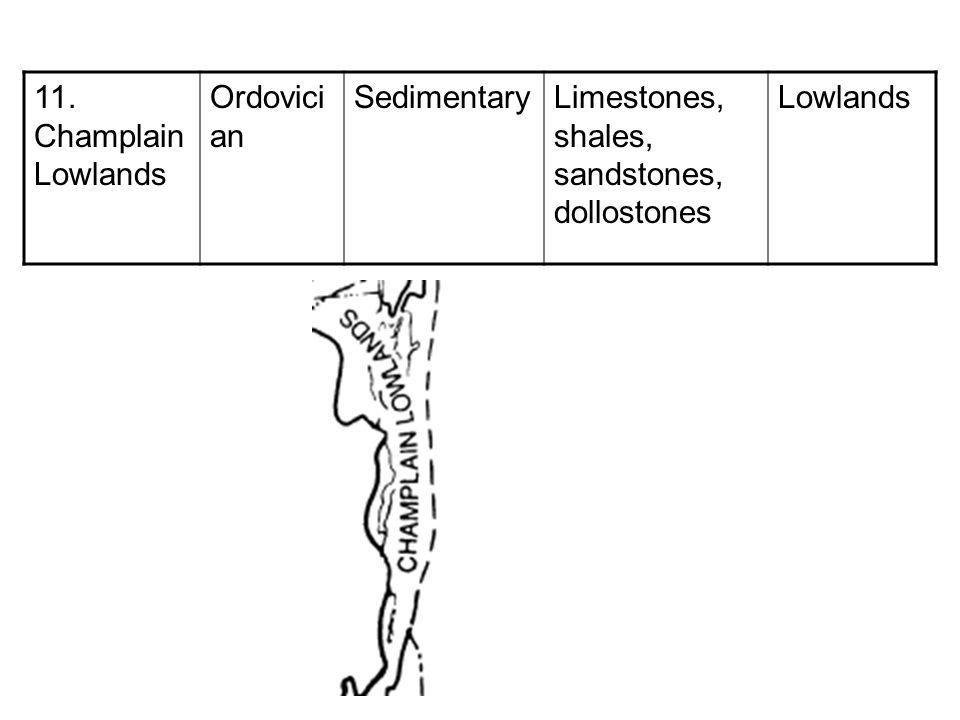 11. Champlain Lowlands Ordovician Sedimentary Limestones, shales, sandstones, dollostones Lowlands