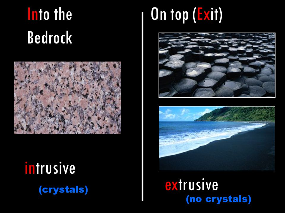 Into the Bedrock On top (Exit) intrusive extrusive (crystals)