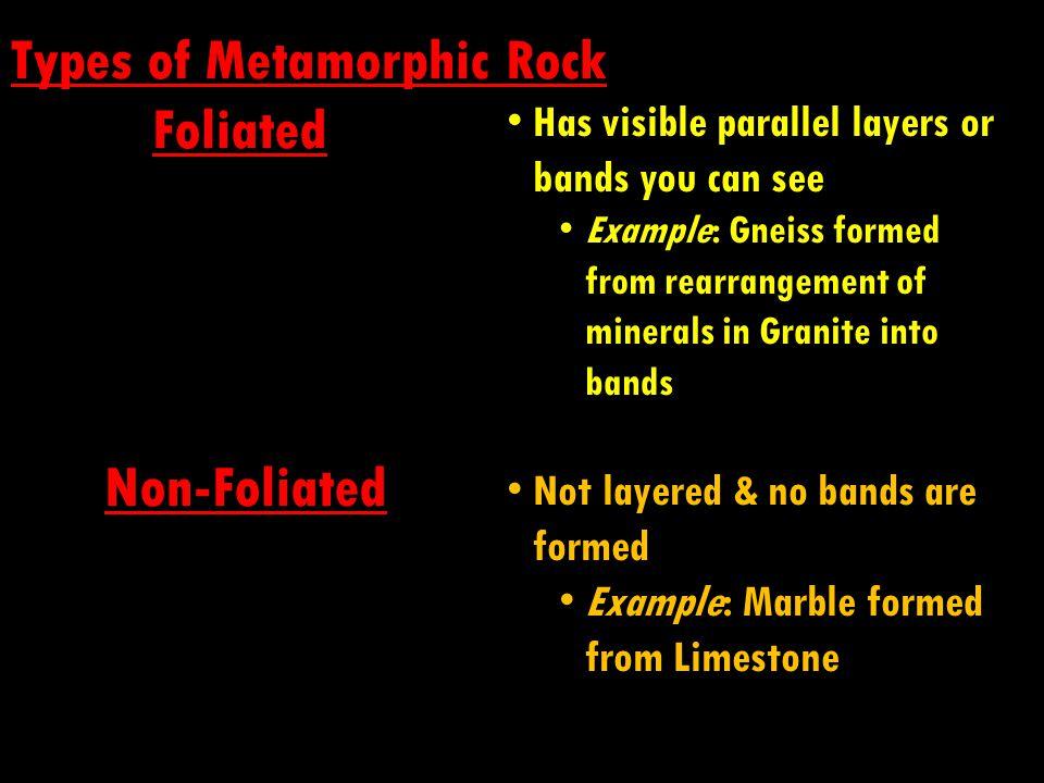 Types of Metamorphic Rock Foliated