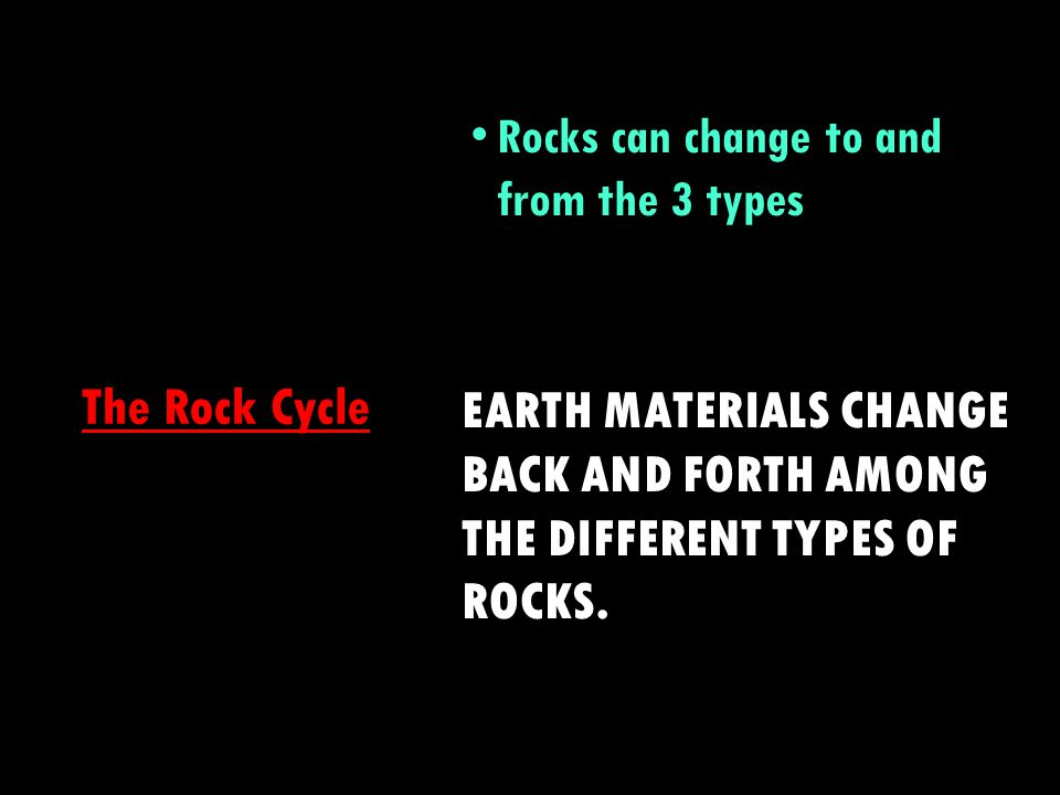 Rocks can change to and from the 3 types
