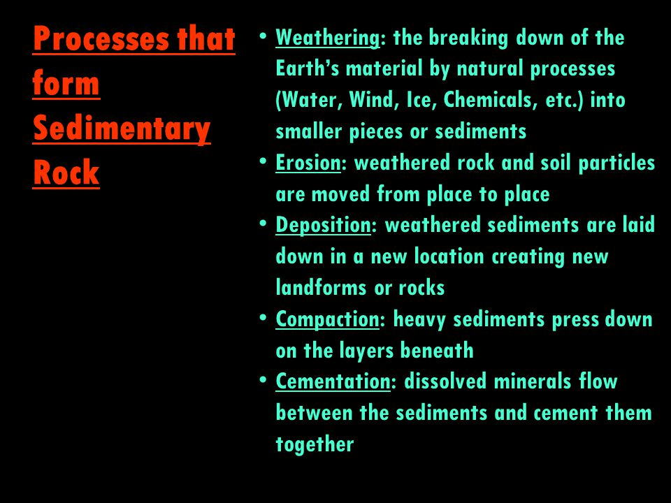 Processes that form Sedimentary Rock