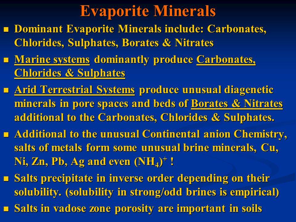 Evaporite Minerals Dominant Evaporite Minerals include: Carbonates, Chlorides, Sulphates, Borates & Nitrates.