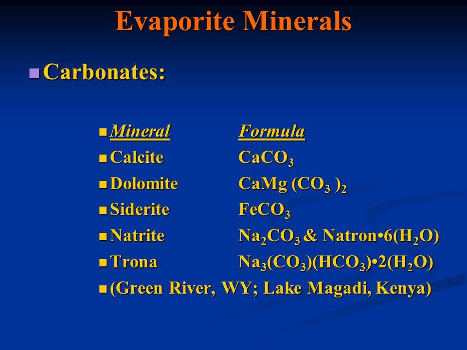 Evaporite Minerals Carbonates: Mineral Formula Calcite CaCO3
