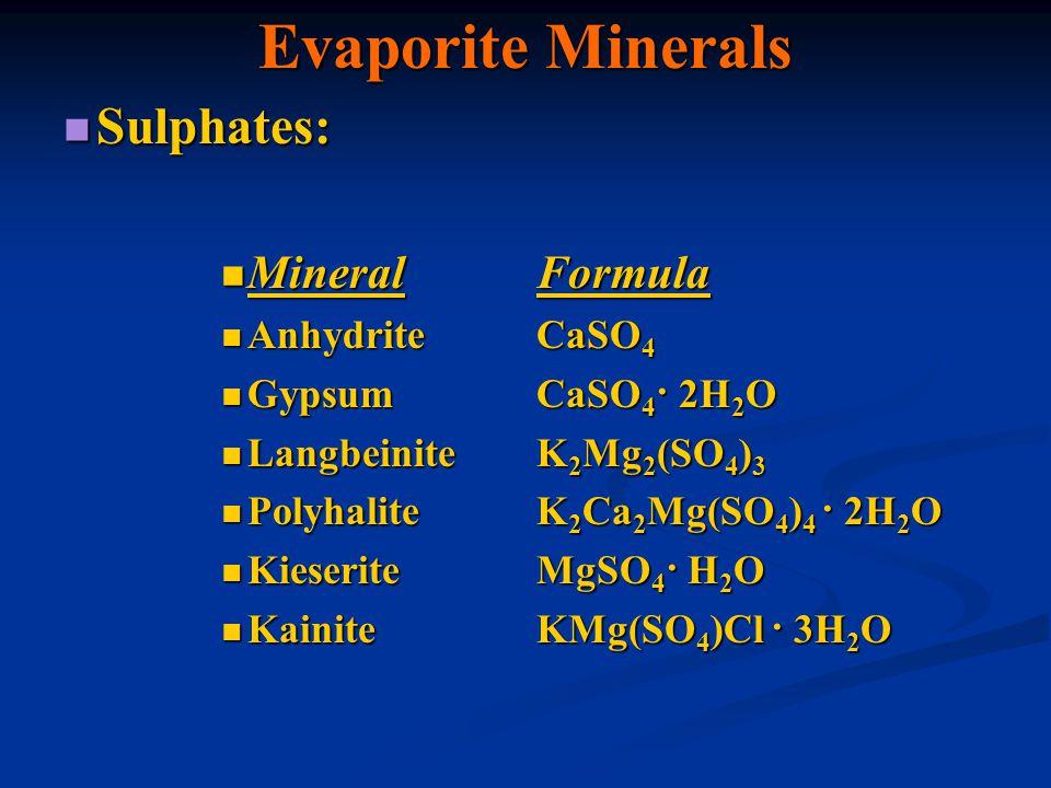 Evaporite Minerals Sulphates: Mineral Formula Anhydrite CaSO4