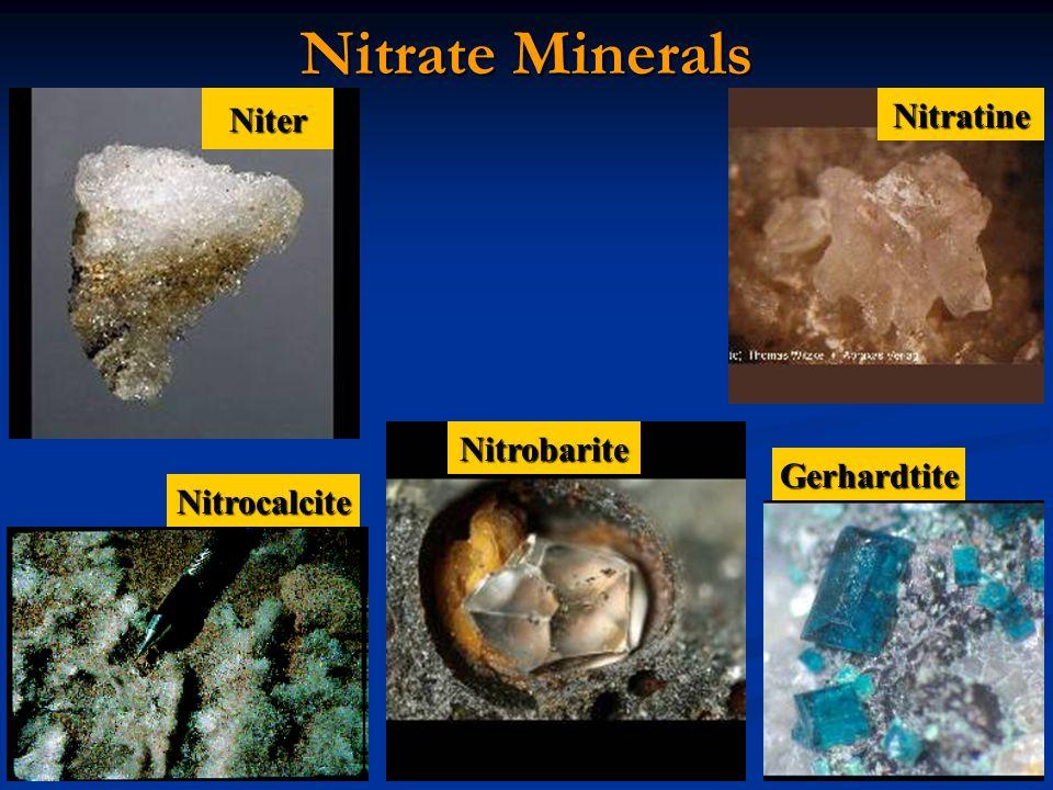 Nitrate Minerals Niter Nitratine Nitrobarite Gerhardtite Nitrocalcite