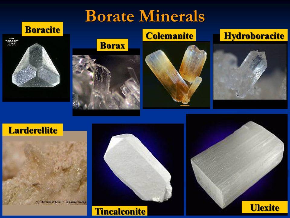 Borate Minerals Boracite Colemanite Hydroboracite Borax Larderellite