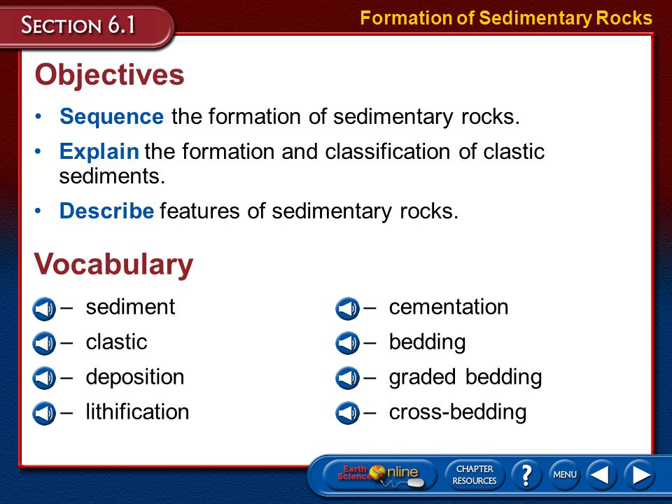 Objectives Vocabulary Sequence the formation of sedimentary rocks.
