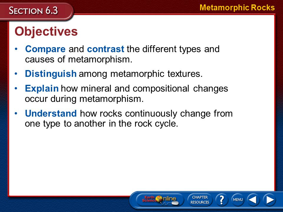 Metamorphic Rocks Objectives. Compare and contrast the different types and causes of metamorphism.