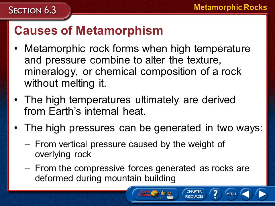 Causes of Metamorphism