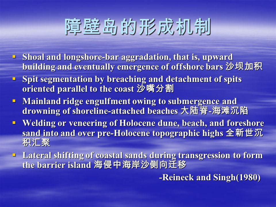 障壁岛的形成机制 Shoal and longshore-bar aggradation, that is, upward building and eventually emergence of offshore bars 沙坝加积.