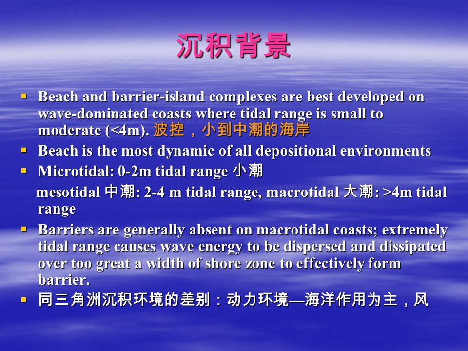 沉积背景 Beach and barrier-island complexes are best developed on wave-dominated coasts where tidal range is small to moderate (<4m). 波控,小到中潮的海岸.