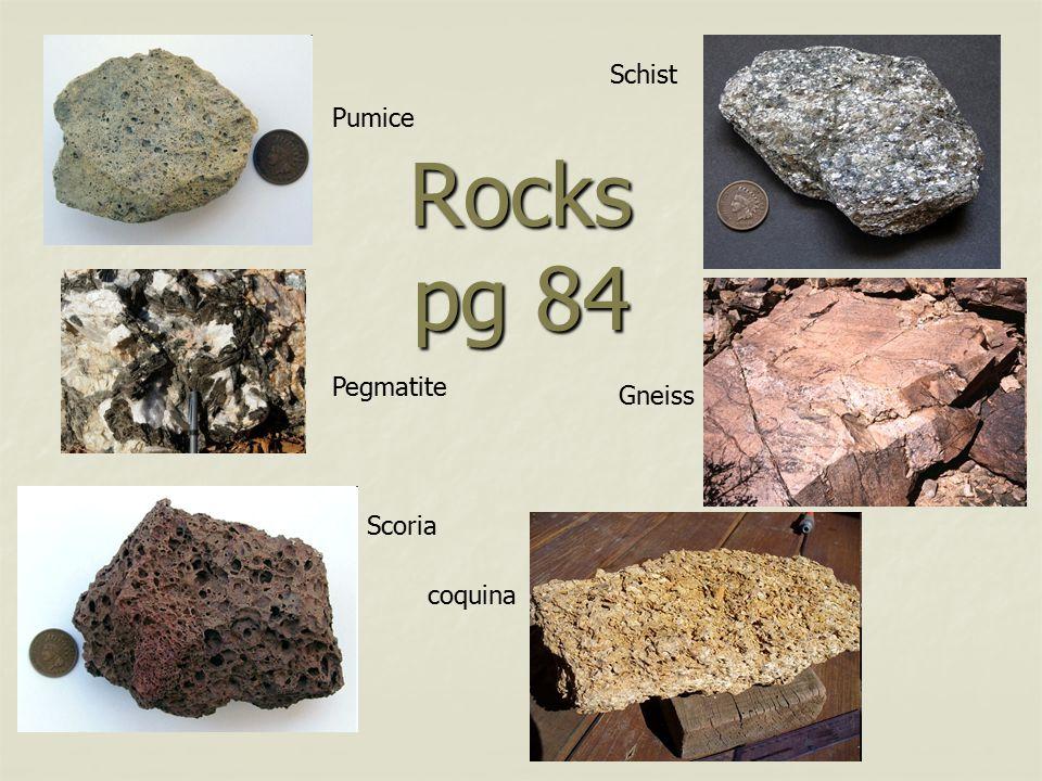 Schist Pumice Rocks pg 84 Pegmatite Gneiss Scoria coquina