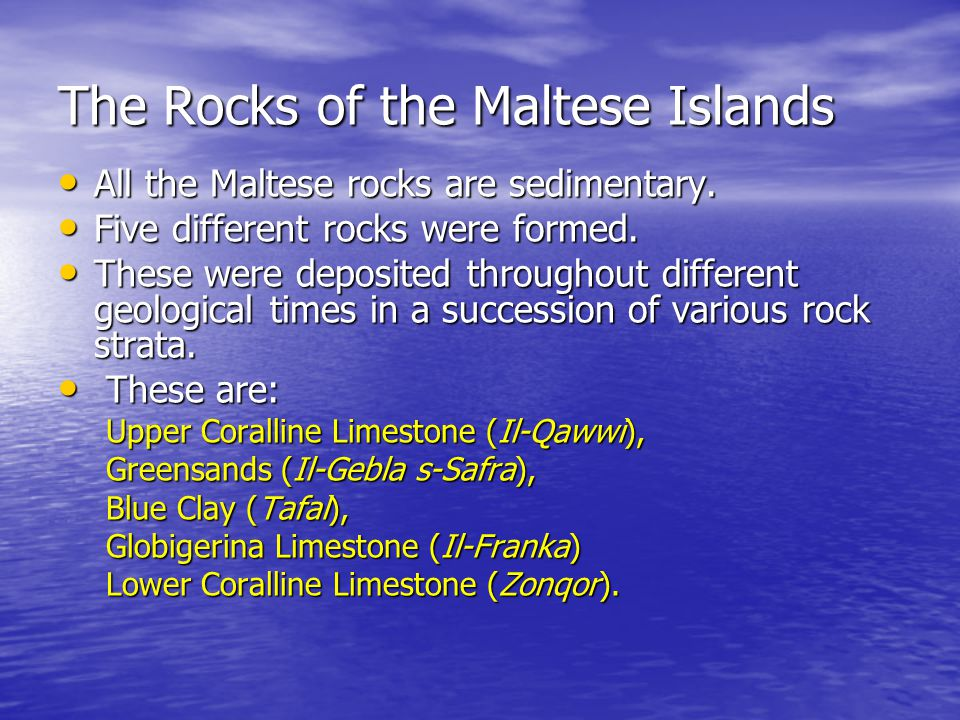 The Rocks of the Maltese Islands