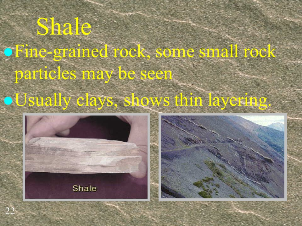 Shale Fine-grained rock, some small rock particles may be seen
