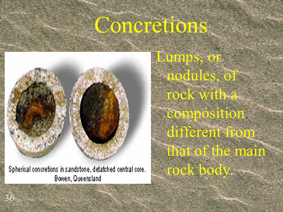 Concretions Lumps, or nodules, of rock with a composition different from that of the main rock body.
