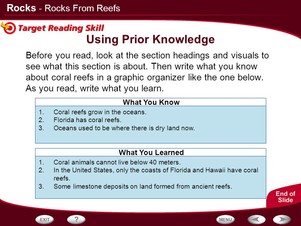 Using Prior Knowledge - Rocks From Reefs