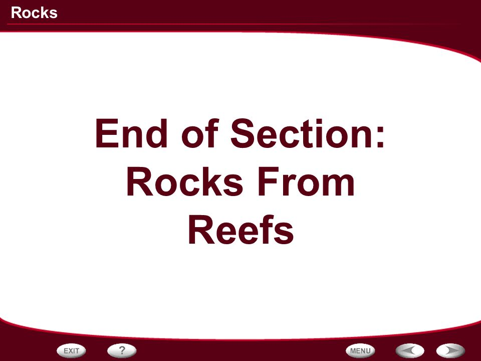 End of Section: Rocks From Reefs
