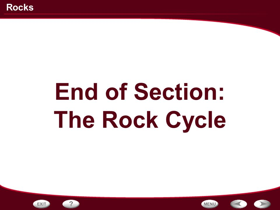 End of Section: The Rock Cycle