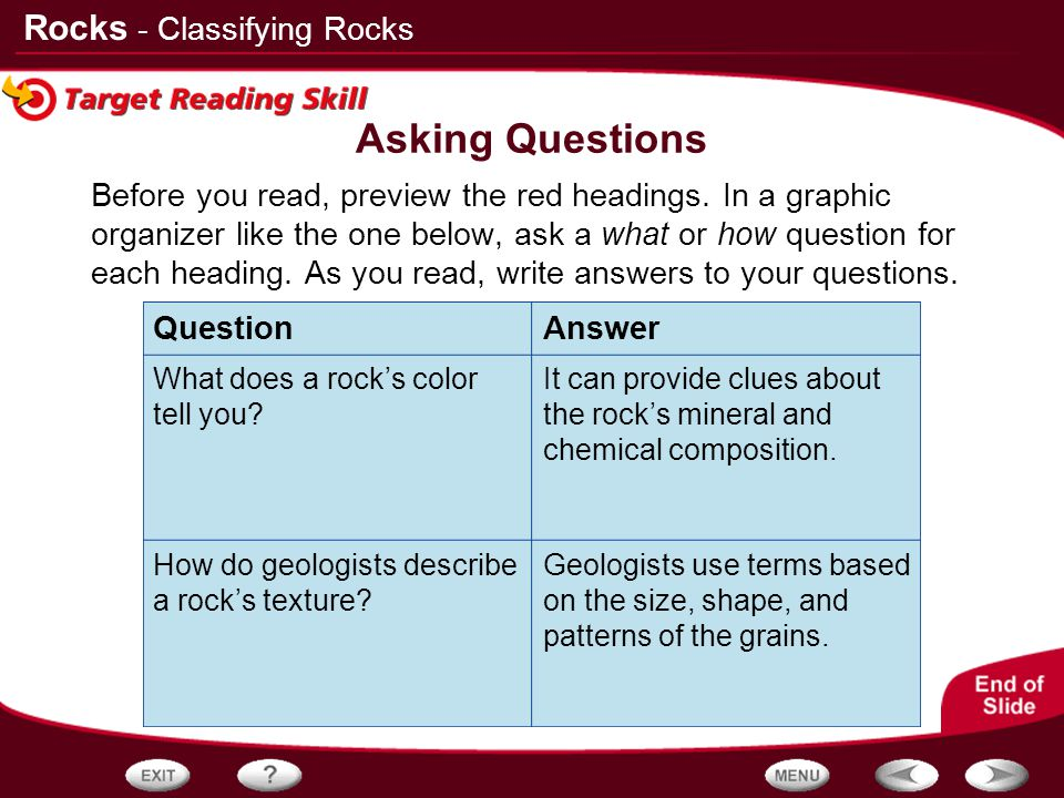 Asking Questions - Classifying Rocks