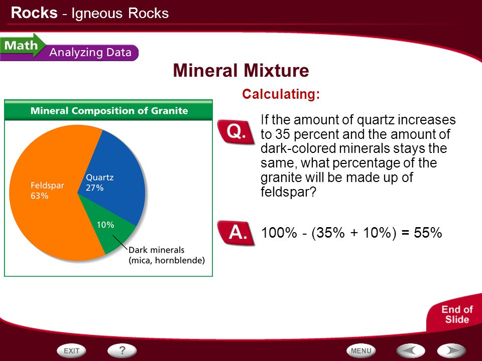 Mineral Mixture - Igneous Rocks 100% - (35% + 10%) = 55% Calculating: