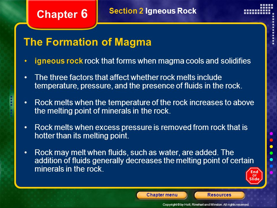 Chapter 6 The Formation of Magma Section 2 Igneous Rock
