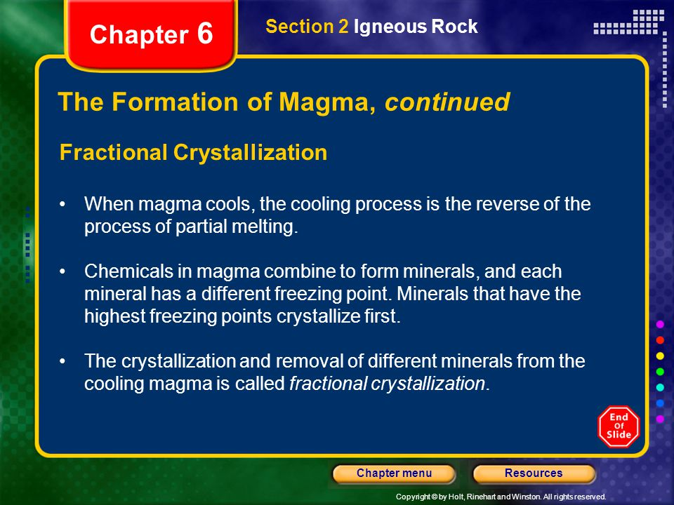 The Formation of Magma, continued