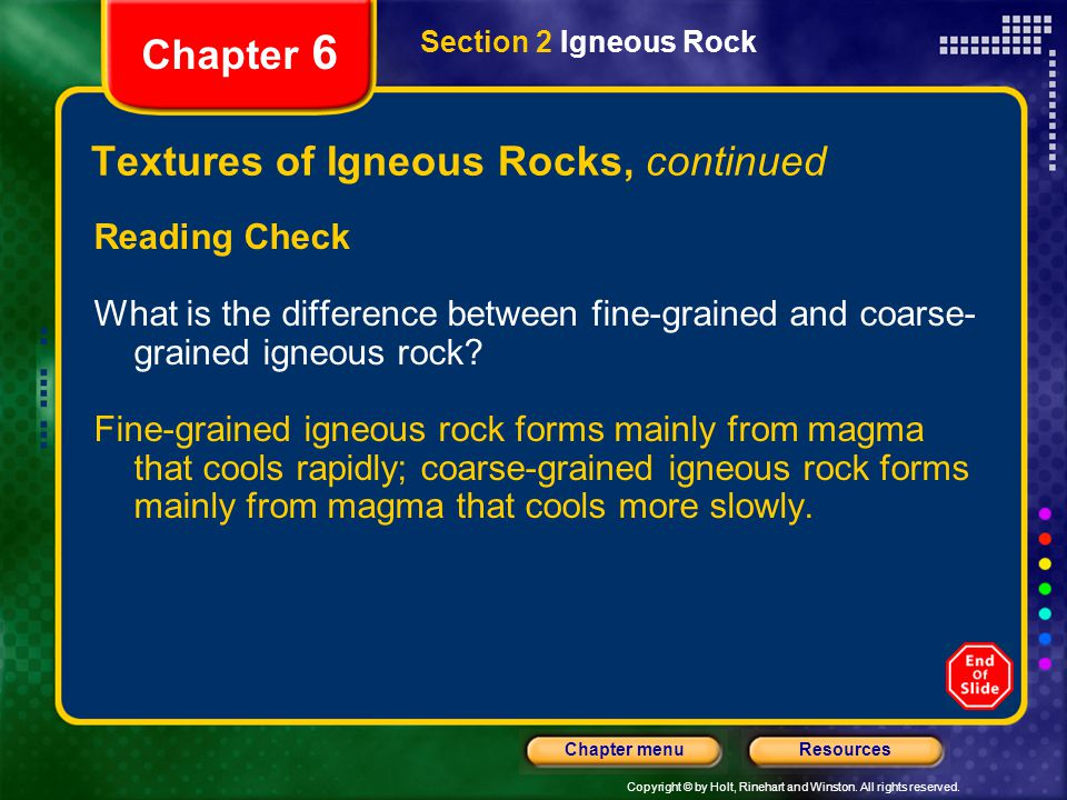 Textures of Igneous Rocks, continued