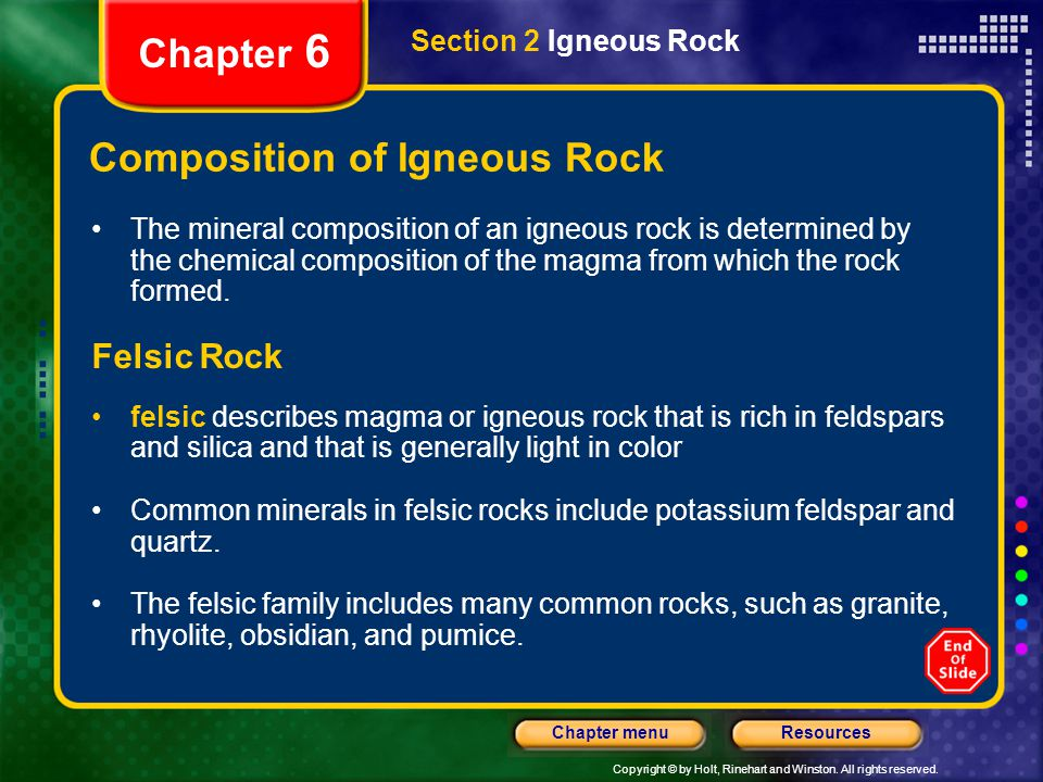 Composition of Igneous Rock