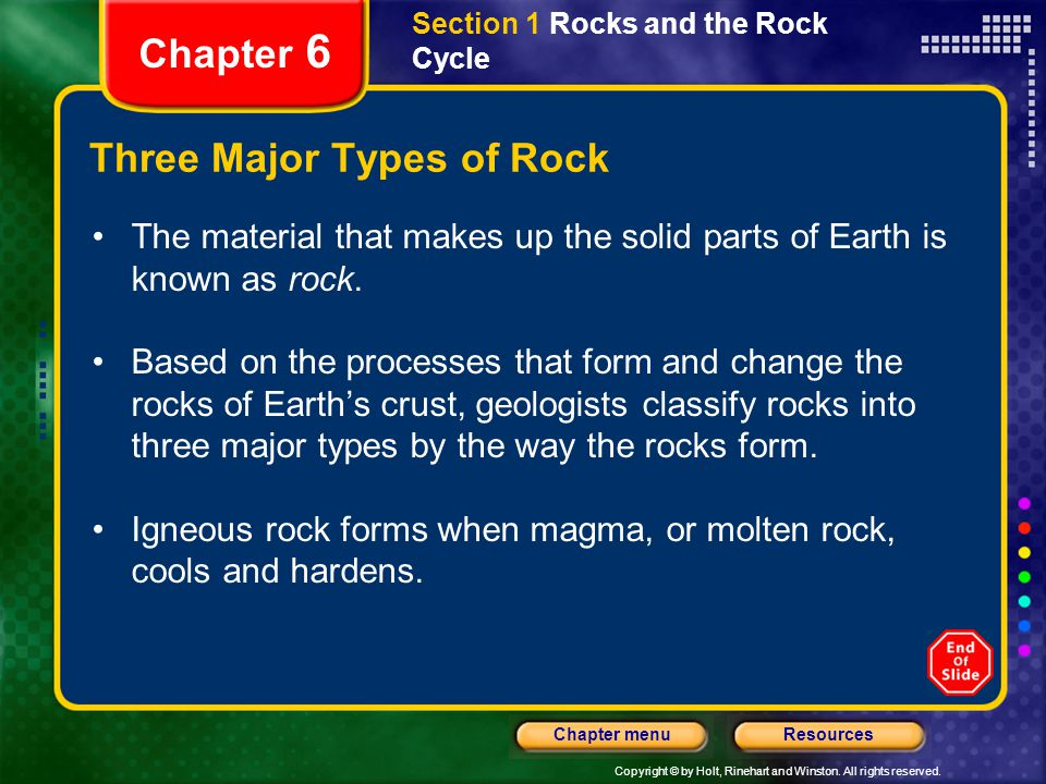 Three Major Types of Rock