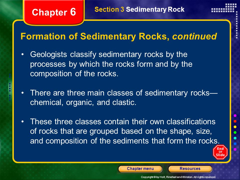 Formation of Sedimentary Rocks, continued