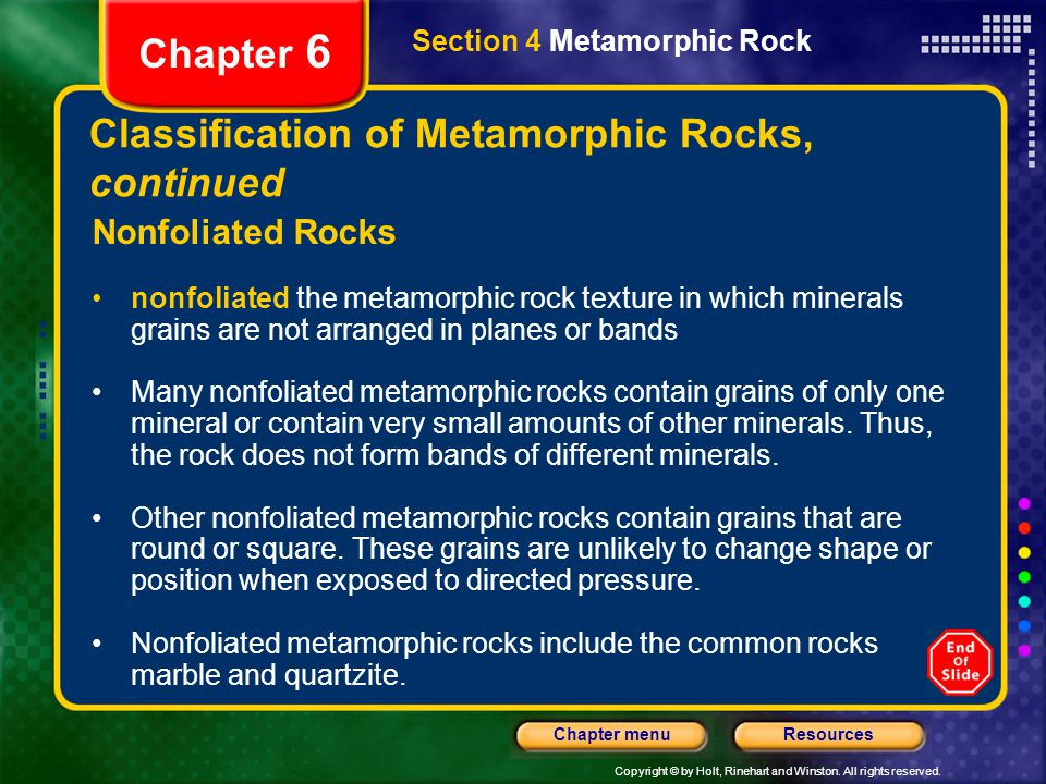Classification of Metamorphic Rocks, continued