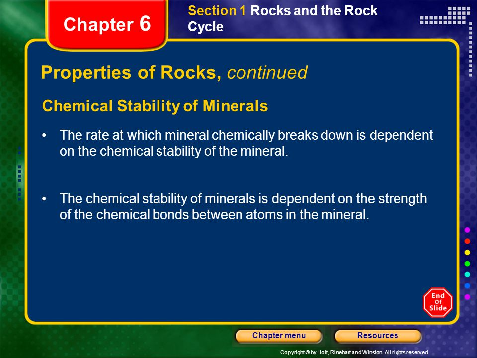 Properties of Rocks, continued