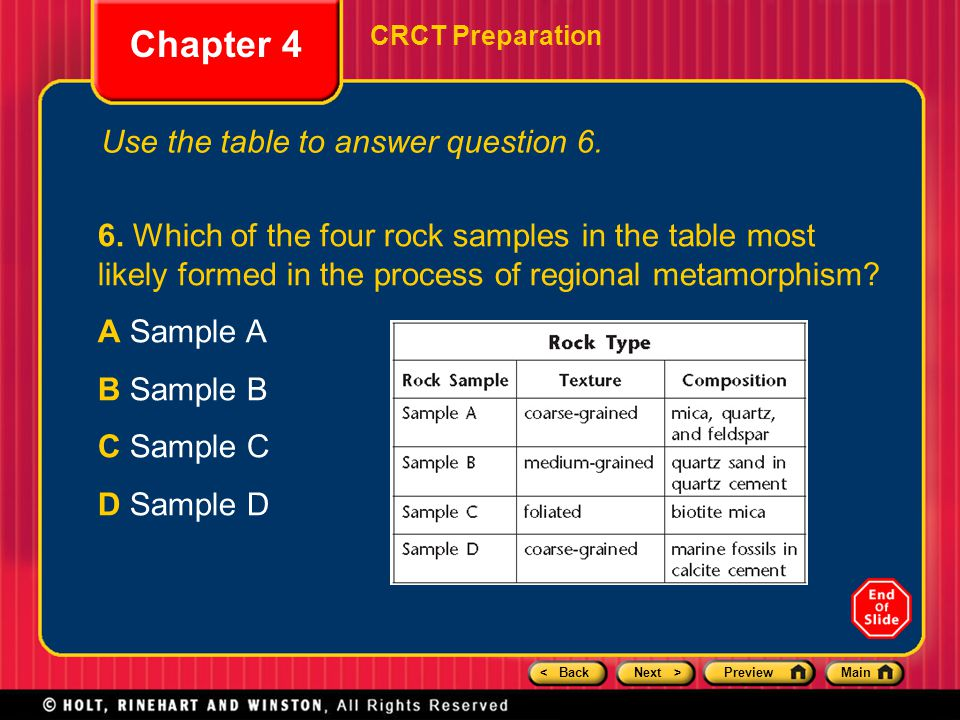 Chapter 4 Use the table to answer question 6.