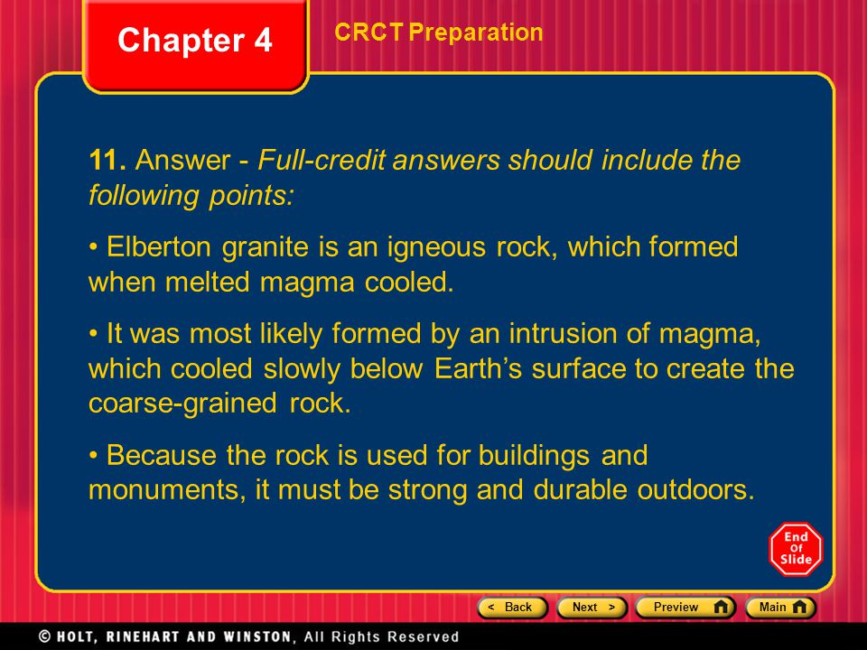 Chapter 4 CRCT Preparation. 11. Answer - Full-credit answers should include the following points: