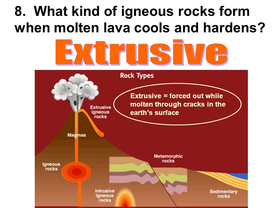 8. What kind of igneous rocks form when molten lava cools and hardens