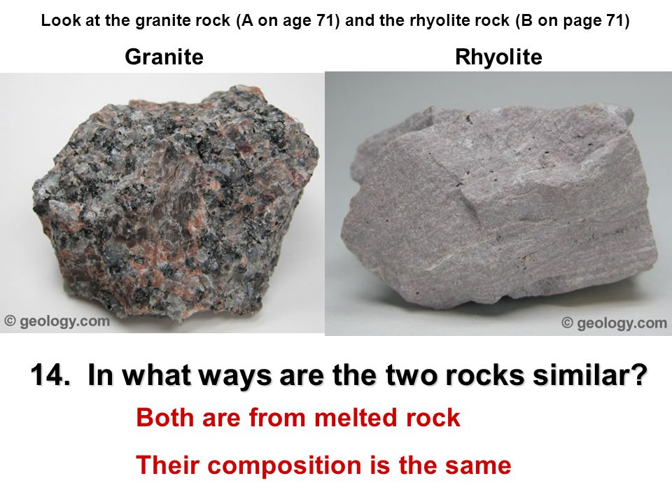 14. In what ways are the two rocks similar