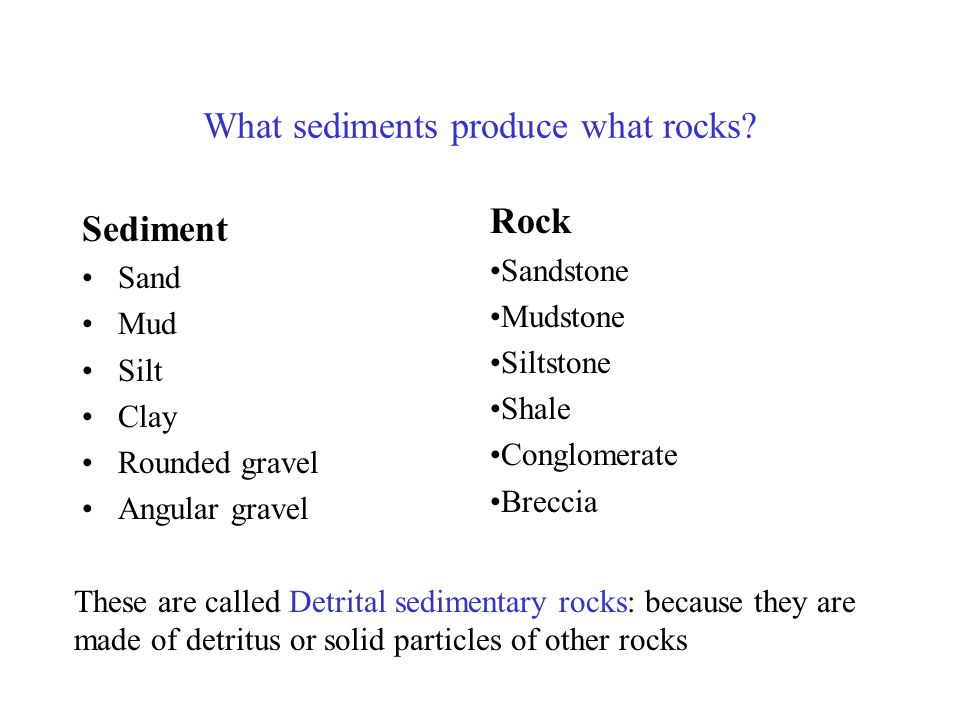 What sediments produce what rocks