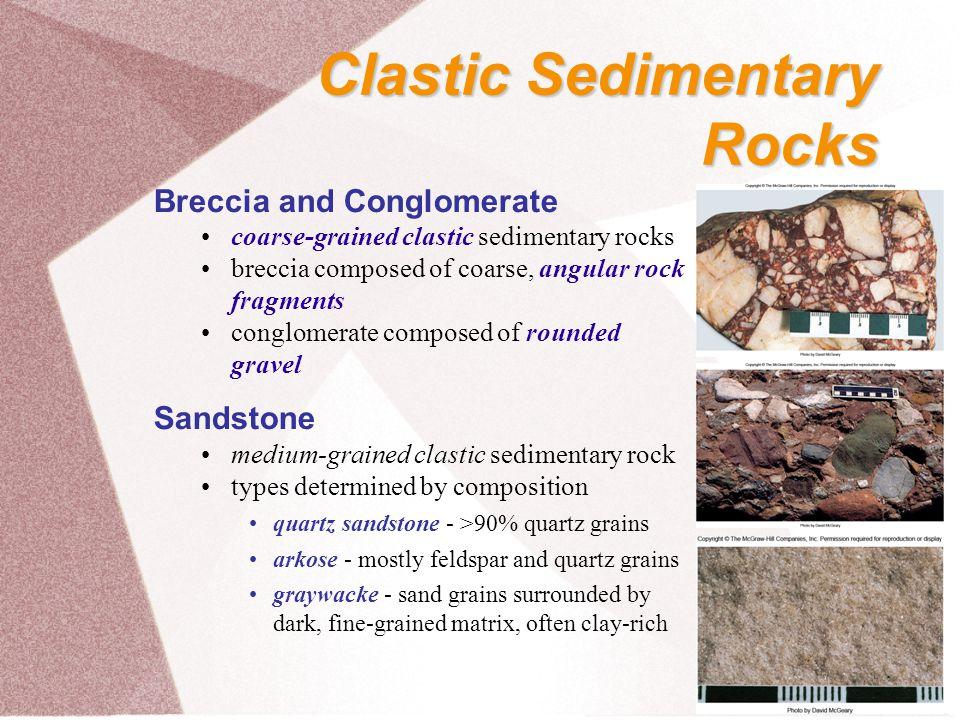 Clastic Sedimentary Rocks Breccia and Conglomerate Sandstone
