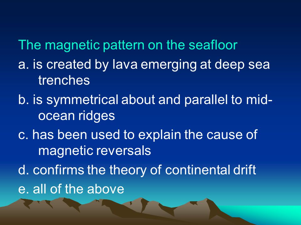 The magnetic pattern on the seafloor