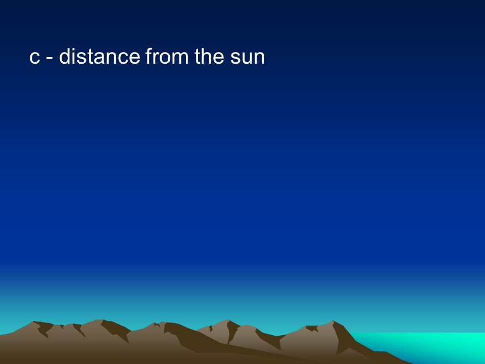 c - distance from the sun