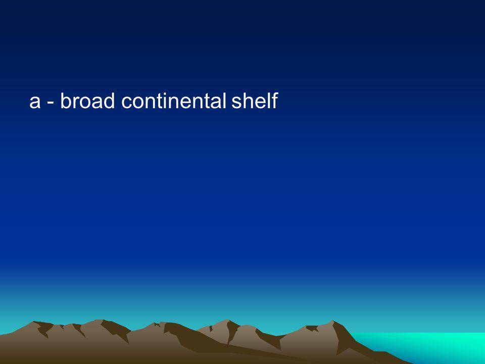 a - broad continental shelf
