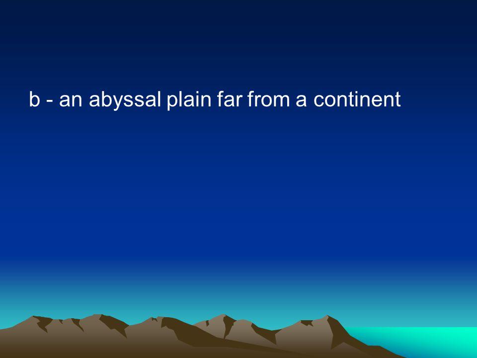b - an abyssal plain far from a continent