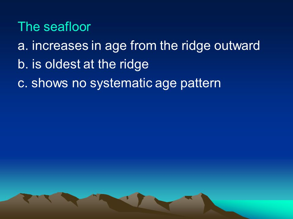 The seafloor a. increases in age from the ridge outward.